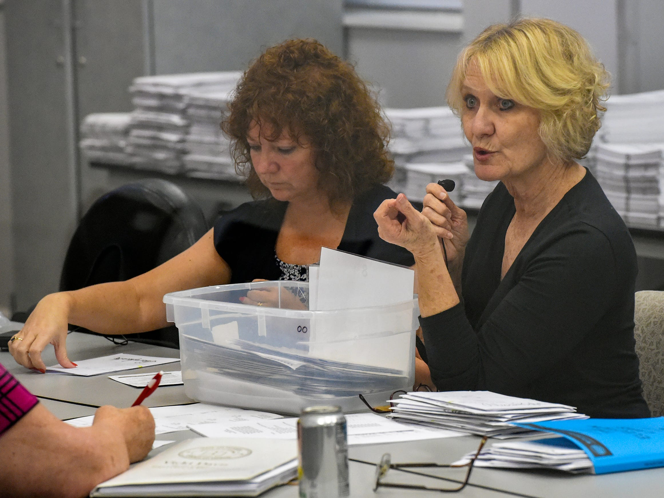 Members of the Martin County Elections Canvassing Board review provisional ballots Thursday, Nov. 8, 2018, at the Martin County Supervisor of Elections building on Martin Luther King Jr. Boulevard in downtown Stuart. A provisional ballot is a ballot that's counted only when the Supervisor of Elections' office can verify the person who cast it is eligible to vote.