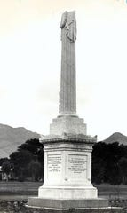 An Aug. 15, 1956, photo shows the monument to Col. William Wallace Smith Bliss, after whom Fort Bliss was named. It is now permanently located on the grounds of Fort Bliss.