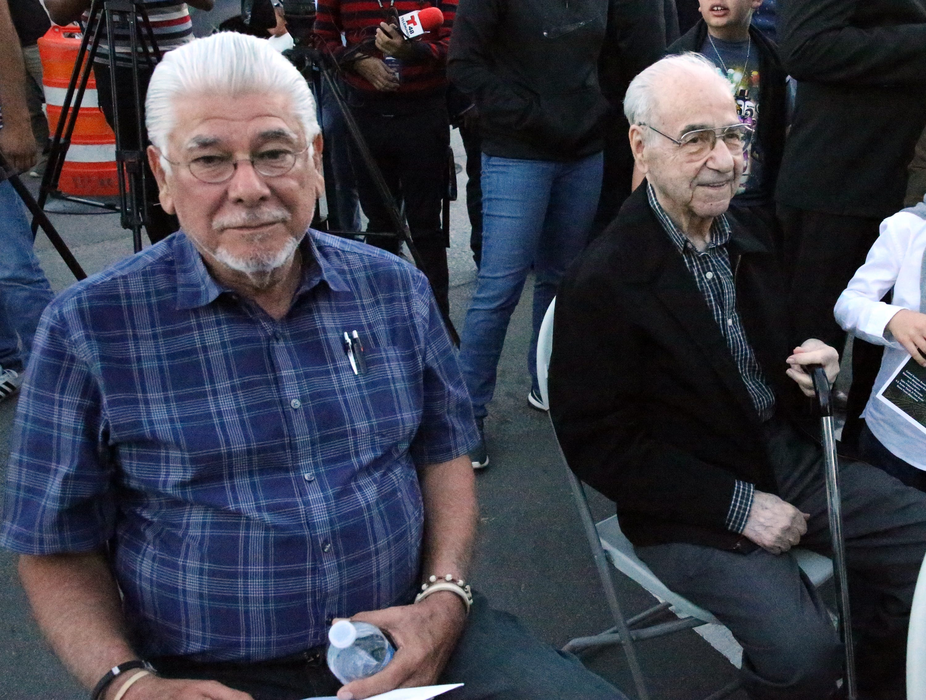 Long time El Paso businessmen Cesar Viramontes, left, and George Salom Sr. at the grand opening for the Paso de Las Luces Wednesday night in South El Paso.