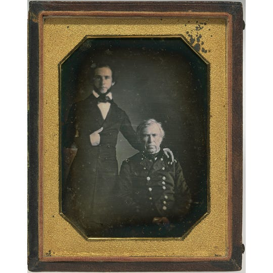 Zachary Taylor, who rose to national prominence for his leadership in the Mexican War, is seated in this daguerreotype portrait next to his army chief of staff, William Bliss.