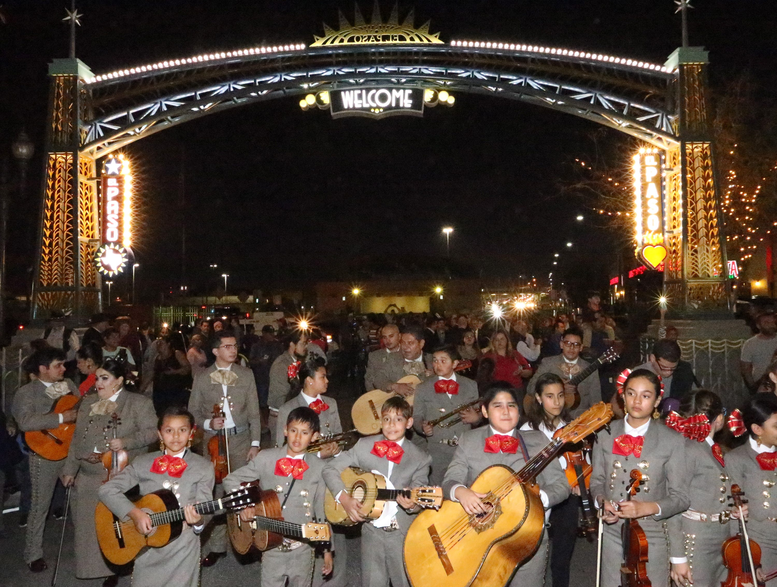 A mariachi group from the La Fe preparatory school were among the performers at the grand opening of the Paseo de Las Luces Wedensday night in South El Paso.