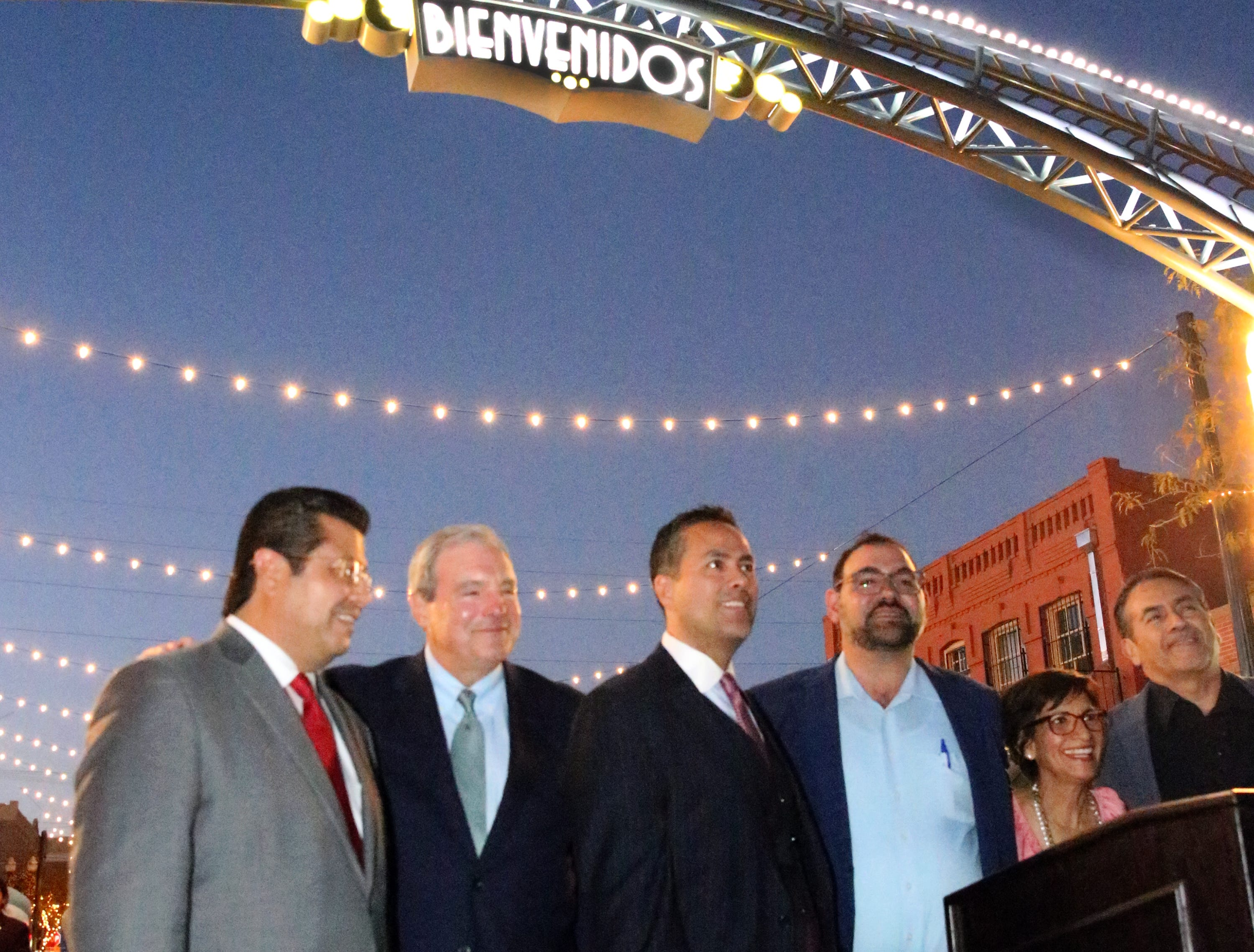 Dignitaries on hand for the grand opening of the Paseo de Las Luces under the newly lighted archway Wednesday. They are from left: Juarez mayor Armando Cabada, El Paso mayor Dee Margo, El Paso city manager Tommy Gonzalez and city council members Peter Svarzbein, Cissy Lizarraga and Henry Rivera.