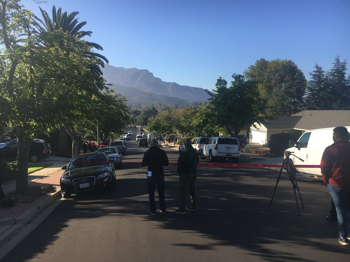 Portions of the street where Ian David Long lived in Newbury Park were closed off Thursday morning as law enforcement officers searched the house.