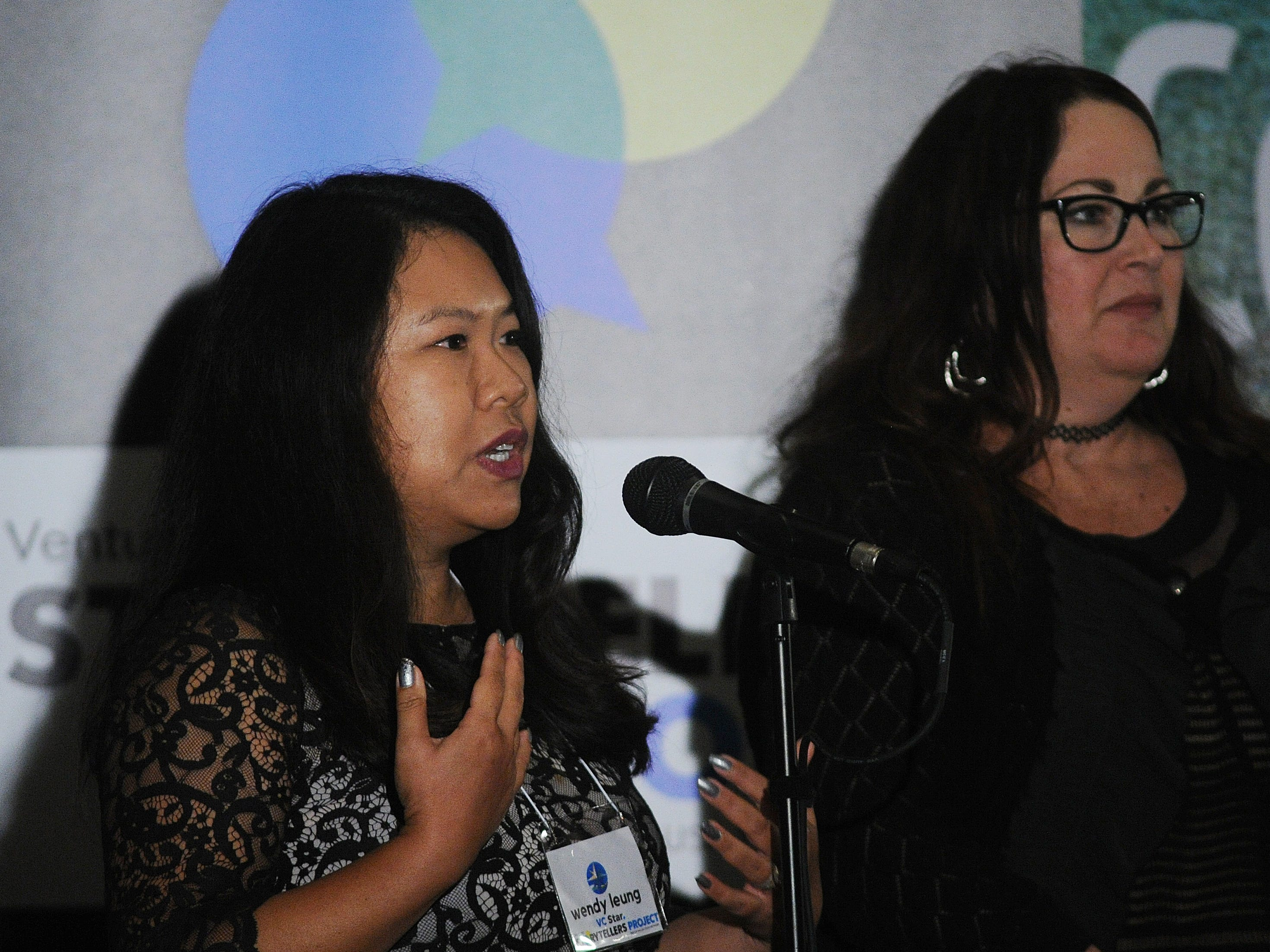 "Co-hosts Wendy Leung, left, and Michelle Rogers at the Ventura Storytellers Project show, ""Holidays and Family,"" at the Camarillo Ranch on Wednesday evening."