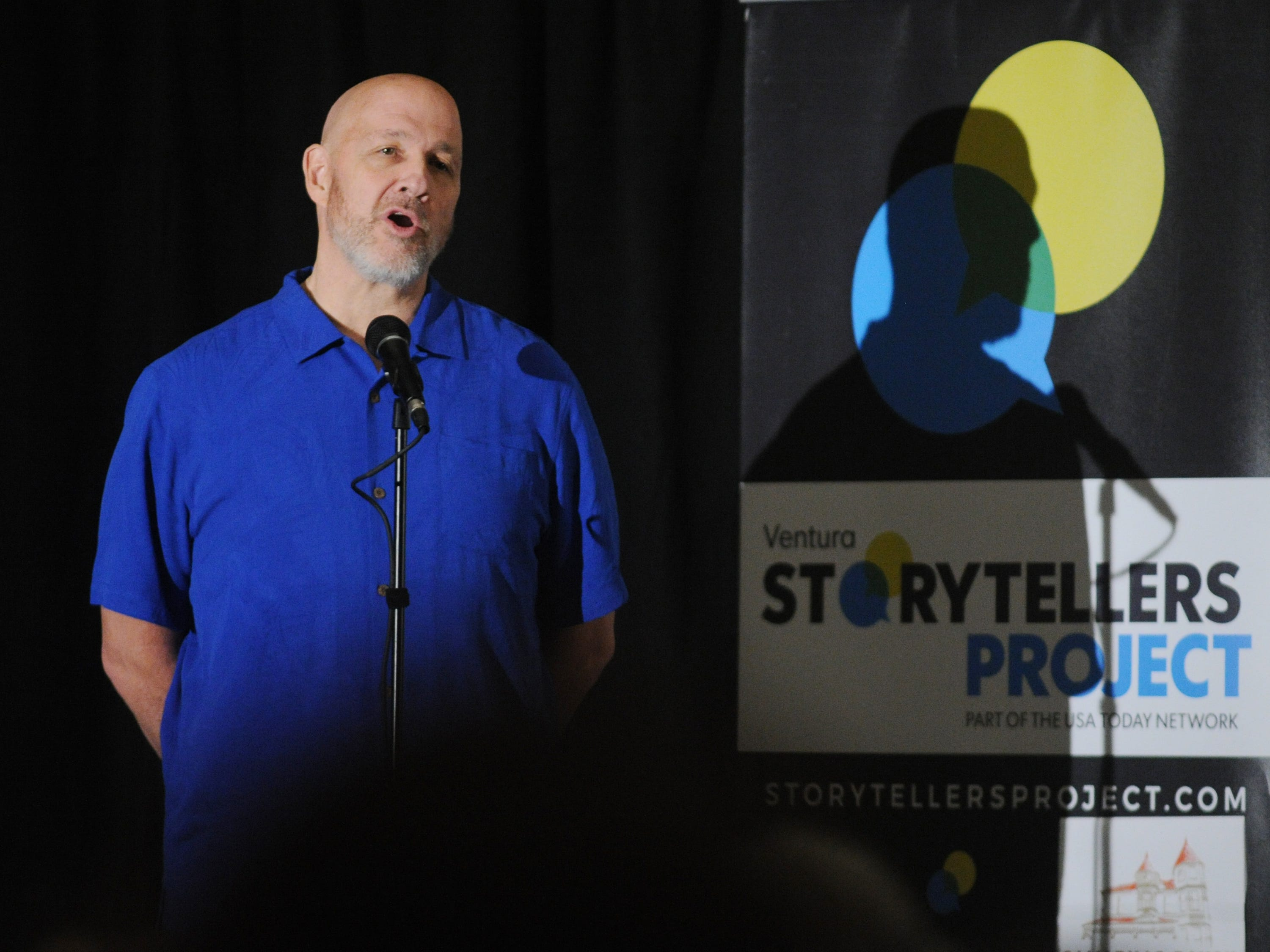 """Storyteller John Garner at the Ventura Storytellers Project show, """"Holidays and Family,"""" at the Camarillo Ranch on Wednesday evening."""