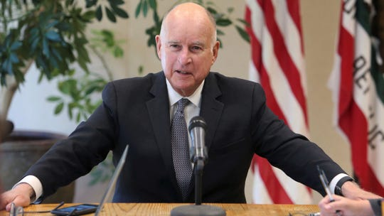 Gov. Jerry Brown talks about election results and a variety of other subjects during a news conference in his office at the Capitol in Sacramento on Wednesday.