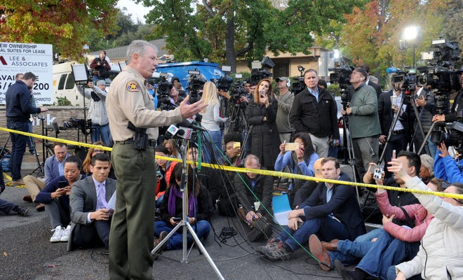 Sheriff Geoff Dean at the press conference early Thursday morning on the shooting at the Borderline Bar & Grill in Thousand Oaks the night before.