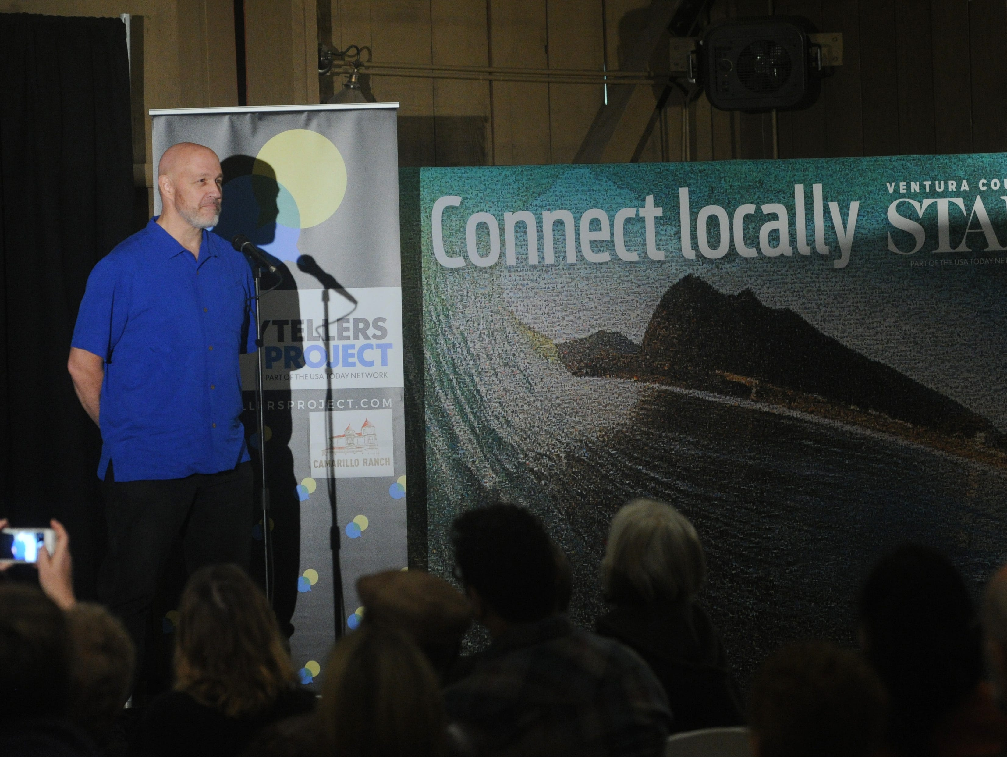 """Storyteller John Garner at the Ventura Storytellers Project show, """"Holiday and Family,"""" at the Camarillo Ranch House on Wednesday evening."""