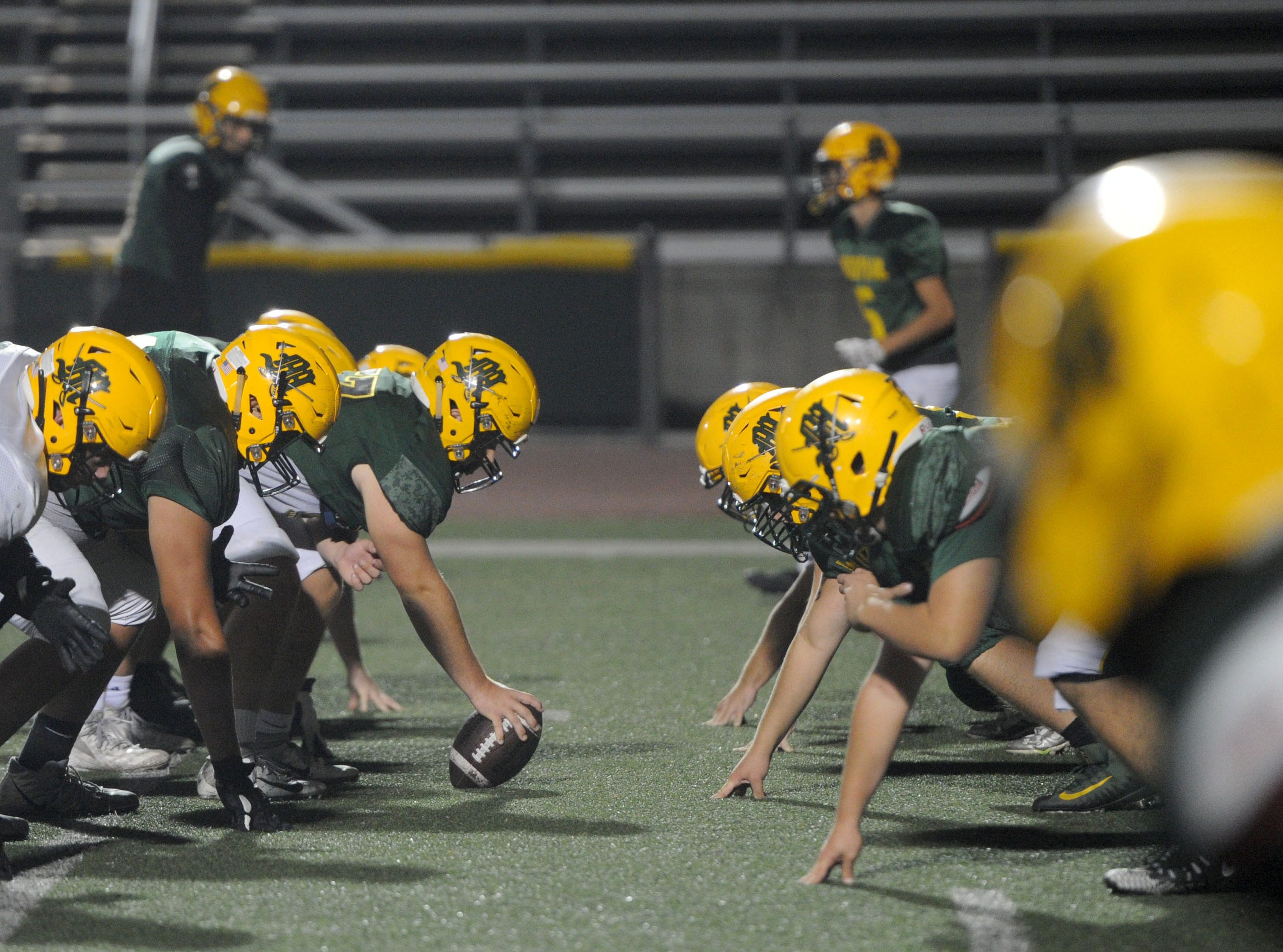 The Moorpark High offensive and defensive lines go head to head during Wednesday's practice. The Musketeers host Sierra Canyon in a Division 3 quarterfinal game Friday night.