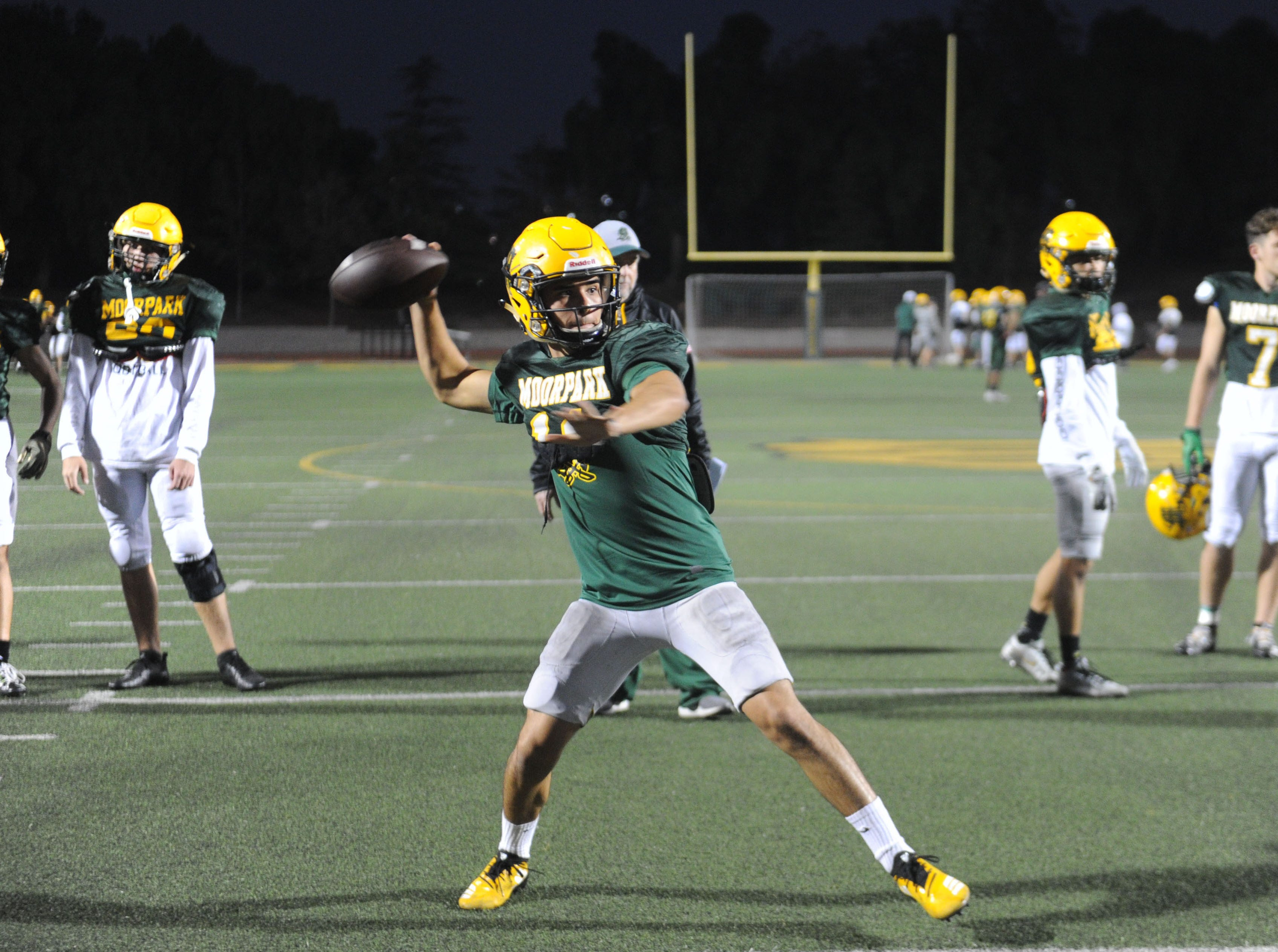 Spencer Varner throws the ball during Moorpark's practice Wednesday. The Musketeers host Sierra Canyon in a Division 3 quarterfinal game Friday night.