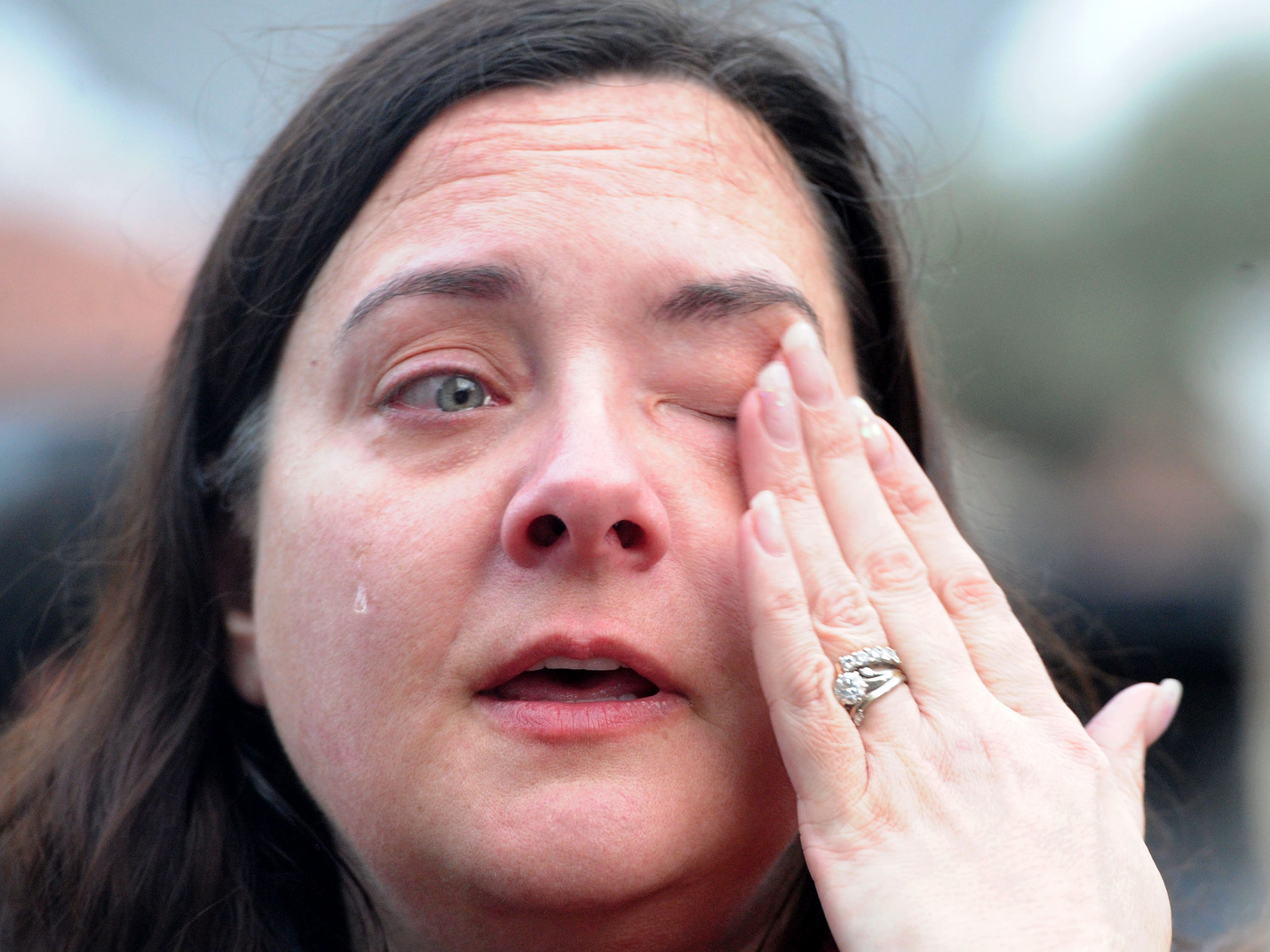 Sarah Silikula 44, cries and expresses concern for her daughter's friend after the shooting at the Borderline Bar & Grill Wednesday night in Thousand Oaks. The gunman, identified as Ian David Long, 28 of Newbury Park, killed 12 people before taking his own life.