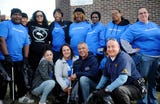 Millville residents, city officials and members of the police force participated in a community clean up event at Oakview Apartments. Volunteers received a T-shirt and pizza for lunch on Thursday, November 8, 2018.