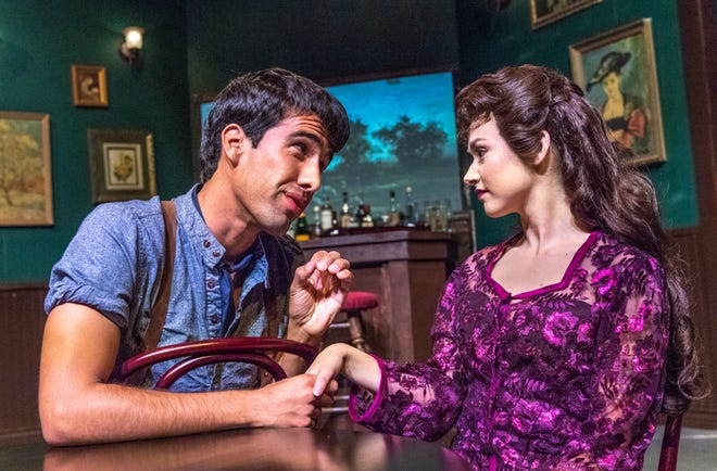 Uriah Madrid as young Pablo Picasso, left, and Natalie Ezelle rehearse for COS' production of Picasso at the Lapin Agile on Wednesday, November 7, 2018. The play was written by the multi-talented comedian Steve Martin.