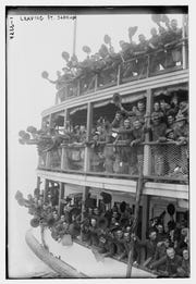 U.S. soldiers leaving Fort Slocum, on Davids Island in New Rochelle, heading for Europe during World War I.