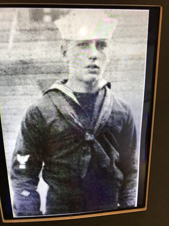 Actor Humphrey Bogart training at Pelham Bay at the beginning of World War I, in a photo in an exhibit on the war at the  St. Paul's Church National Historic Site   in Mount Vernon.