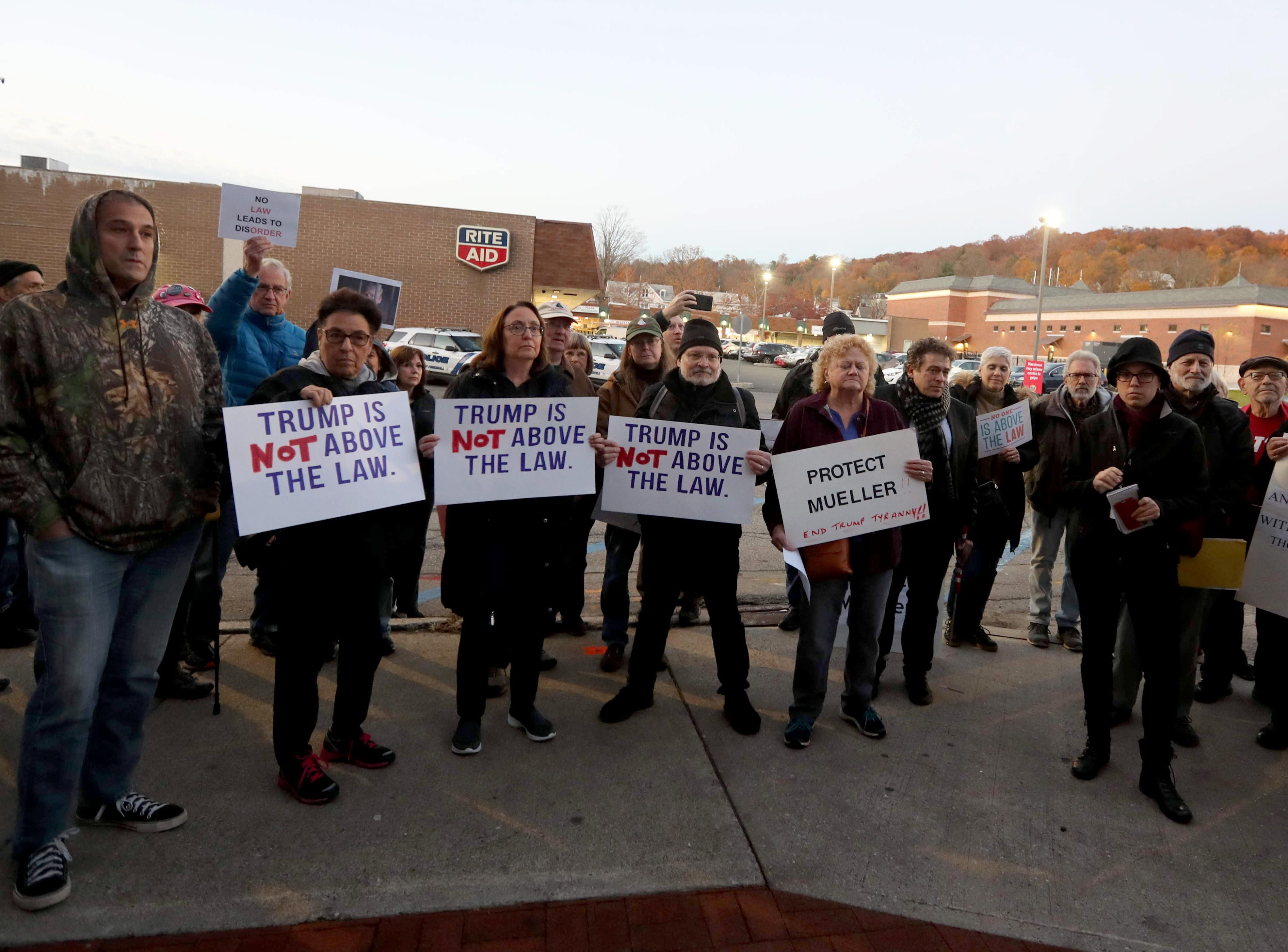 Over one-hundred people attended a rally in front of Senator Chuck Schumer's local office in Peekskill calling for the protection of the Robert Mueller's investigation Nov. 8, 2018. The protest, which coincided with similar protests across the nation, came in the wake of President Trump's firing of Attorney General Jeff Sessions.