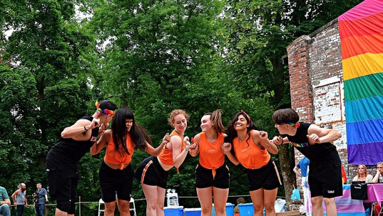 Arias (second from right) with her dance troupe at Rockland County Pride Center's Pride Sunday at Garner Arts Center in Haverstraw
