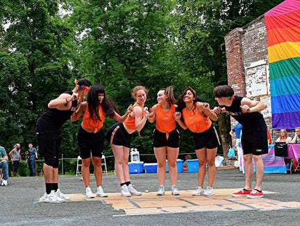 Adrias (second from right) with her dance troupe at Rockland County Pride Center's Pride Sunday at Garner Arts Center in Haverstraw