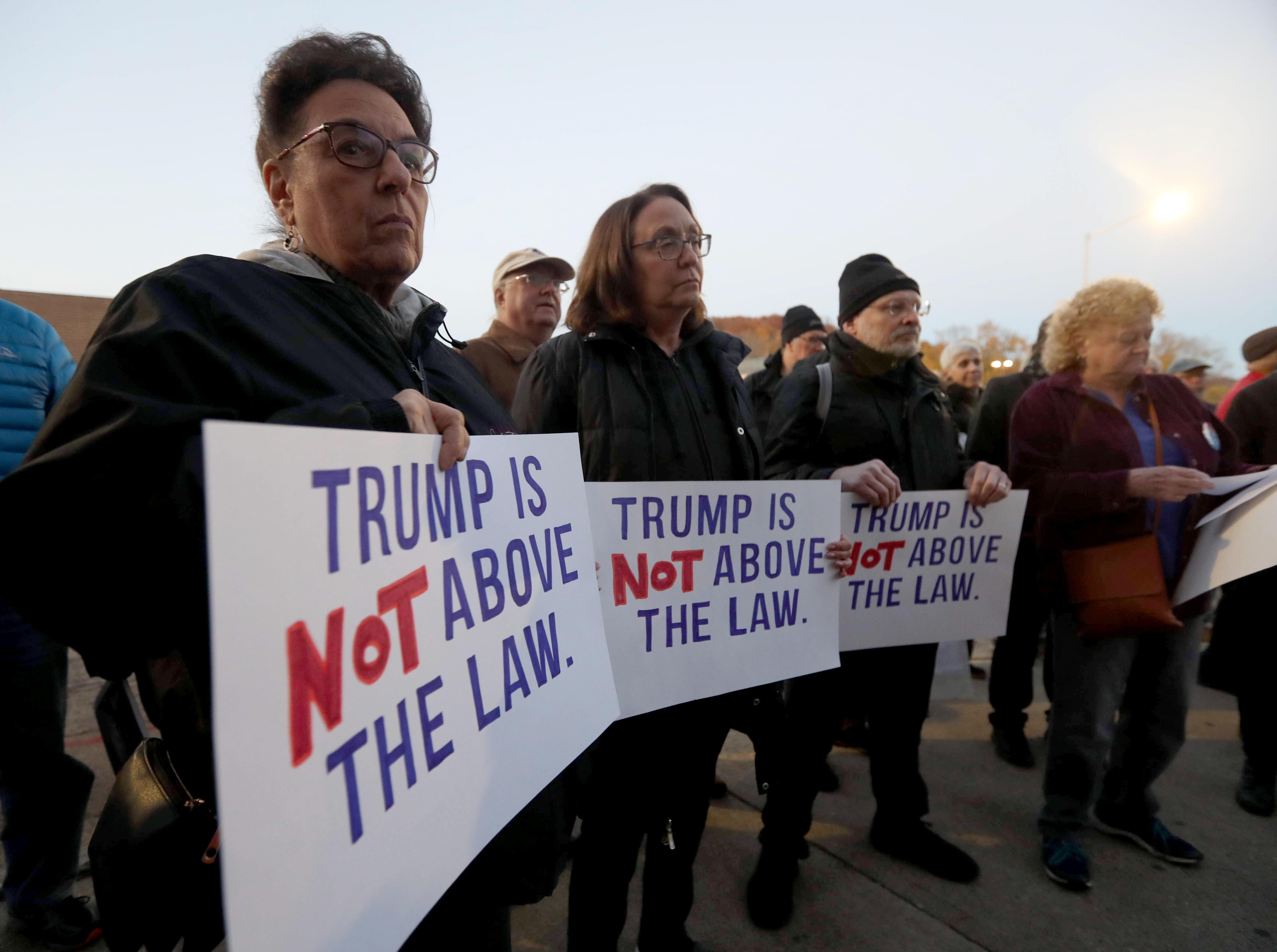 Over one-hundred people attended a rally in front of Senator Chuck Schumer's local office in Peekskill, N.Y. calling for the protection of the Robert Mueller's investigation Nov. 8, 2018. The protest, which coincided with similar protests across the nation, came in the wake of President Trump's firing of Attorney General Jeff Sessions.