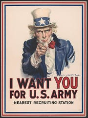 America's most iconic military recruitment poster was designed by artist James Montgomery Flagg of Pelham Manor.