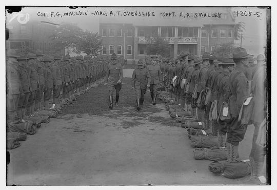 Inspection time at Fort Slocum on Davids Island, New Rochelle during World War I.