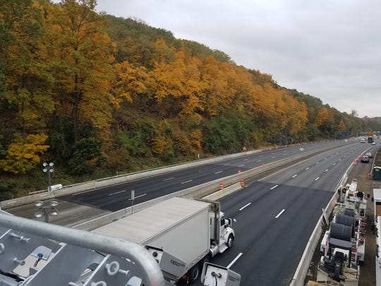 Truck passes under the Yonkers cashless tolling gantry
