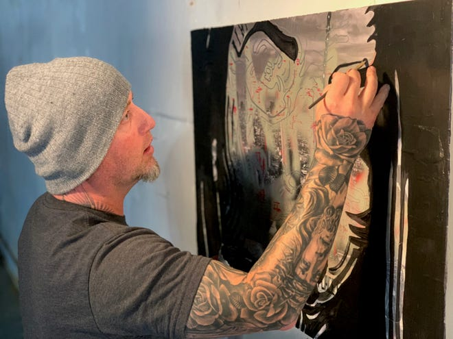 Area artist Sorrow will exhibit a series of new art pieces and previously unseen work from 7 to 10 p.m. Thursday at the Maplewood. The show runs through the month of November. Shown are two of his new pieces that are yet to be titled.