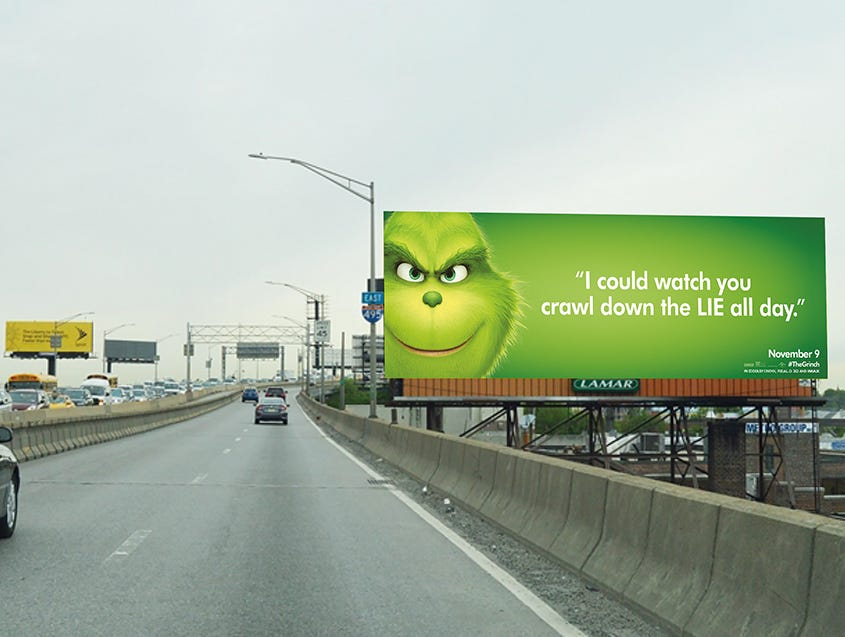 The Grinch laughs about Long Island Expressway traffic.