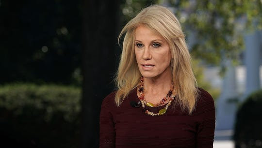 Counselor to President Donald Trump Kellyanne Conway participates in a TV interview Oct. 3, 2018, at the White House in Washington.