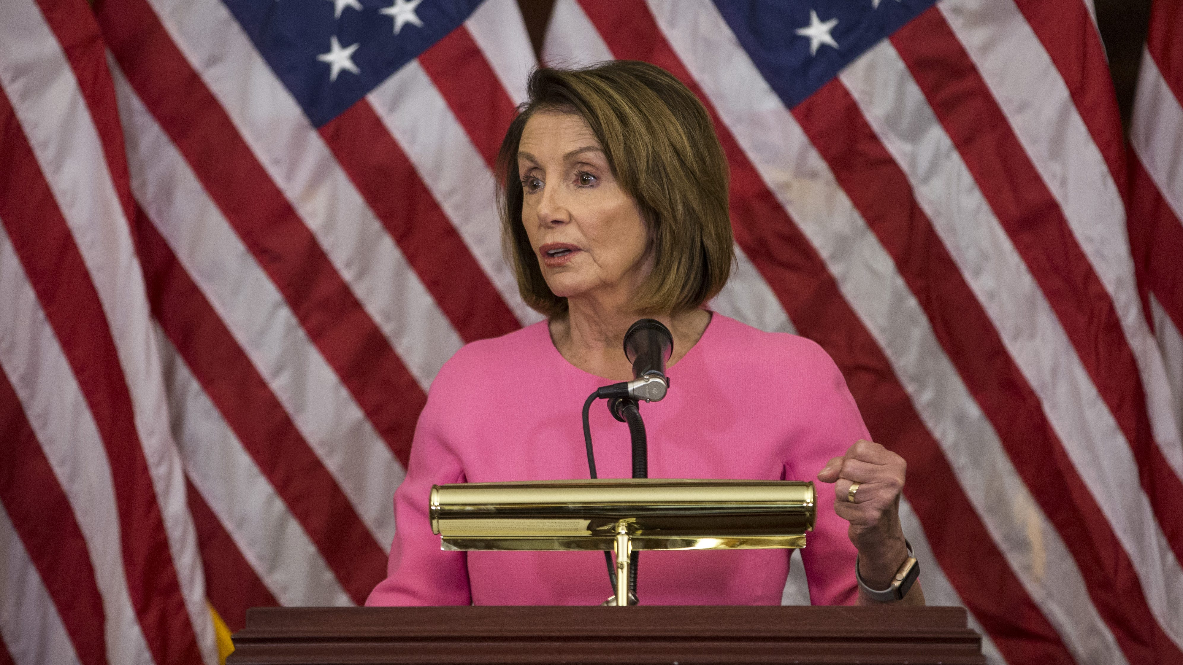 House Minority Leader Nancy Pelosi (D-CA) holds a news conference at the Capitol following the 2018 midterm elections. Republicans kept the Senate majority but lost control of the House to the Democrats.