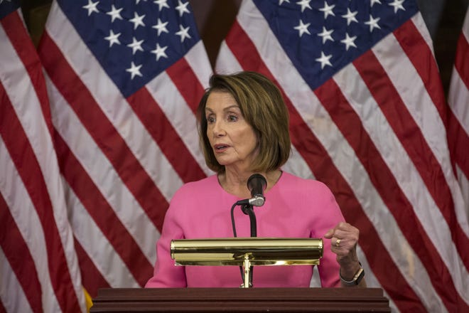 House Minority Leader Nancy Pelosi (D-CA) holds a news conference at the Capitol following the 2018 midterm elections.