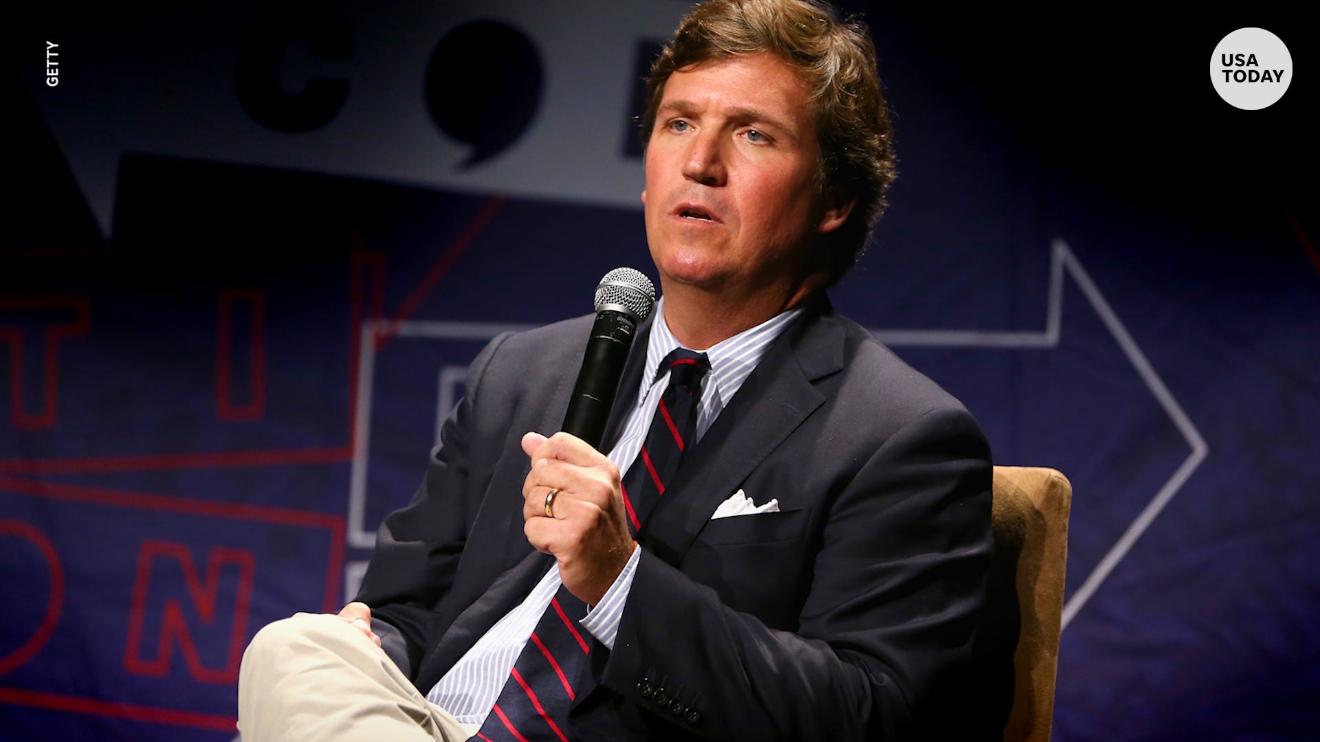 Protesters chant outside Tucker Carlson's home