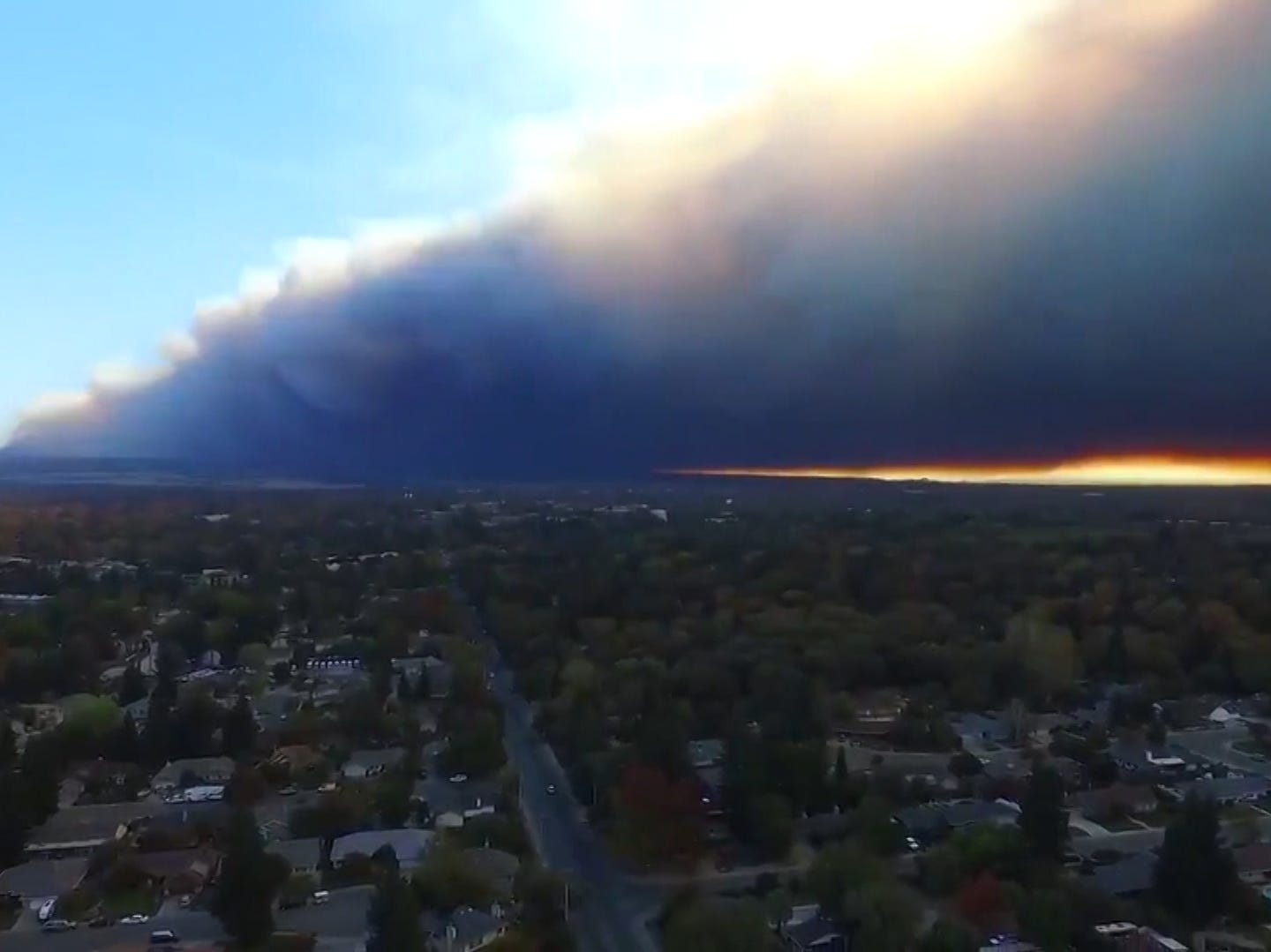 The Camp Fire burning in northern California