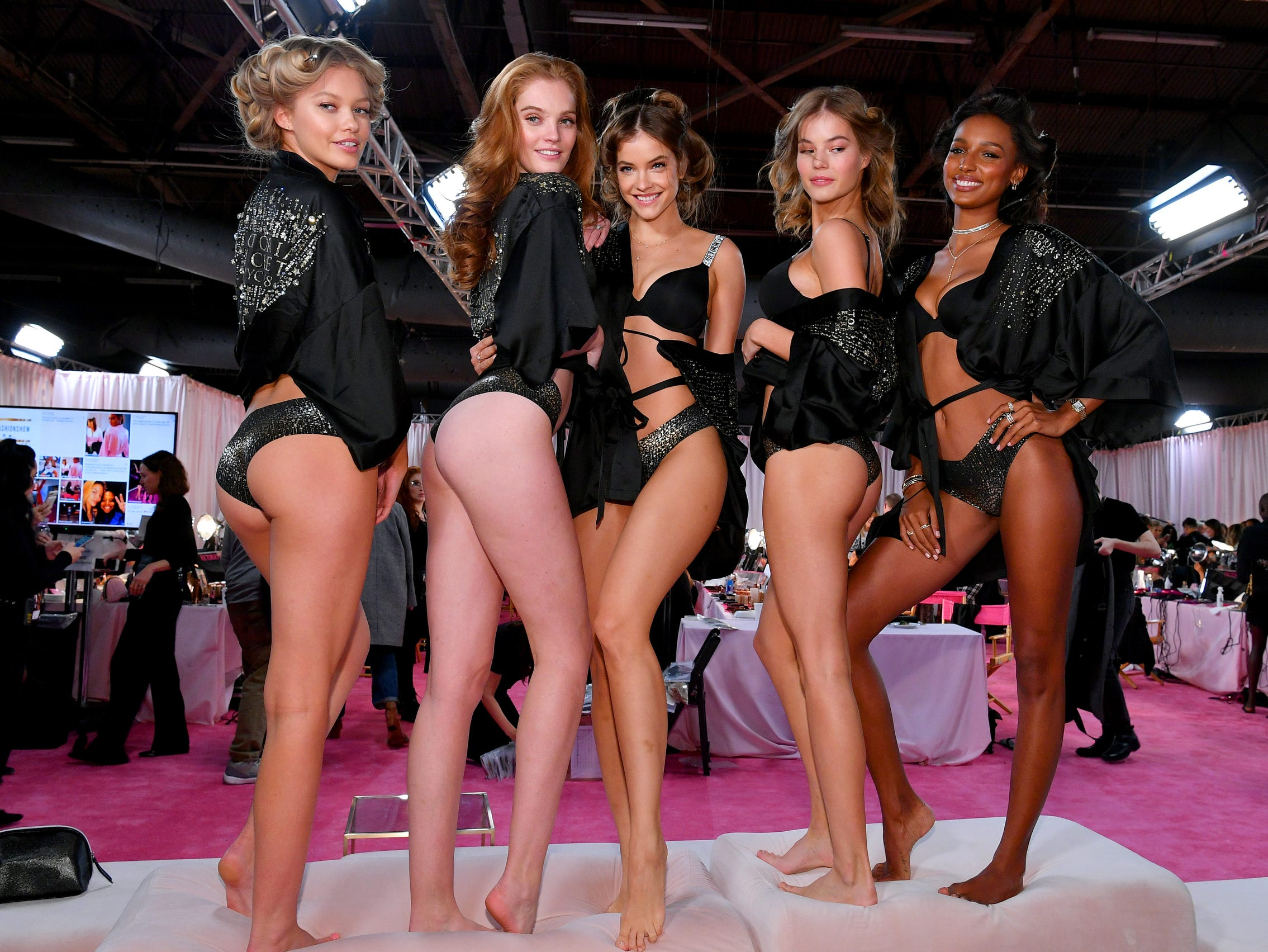 Legs, legs, legs! Angels Maggie Laine, left, Alexina Graham, Myrthe Bolt, Barbara Palvin, and Leomie Anderson show off  backstage.