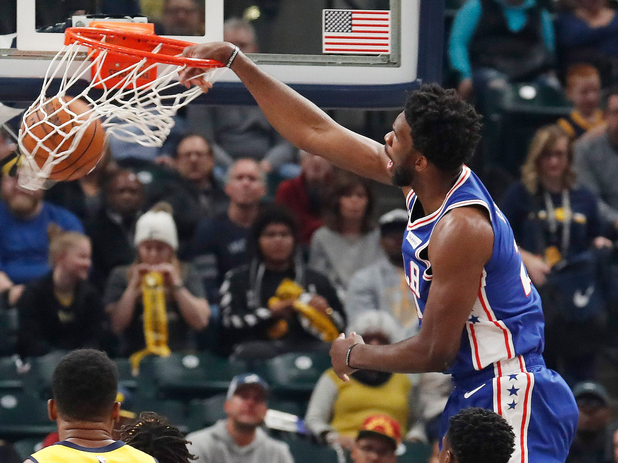 Nov. 7: 76ers center Joel Embiid thros down a one-handed slam during the first half against the Pacers in Indianapolis.