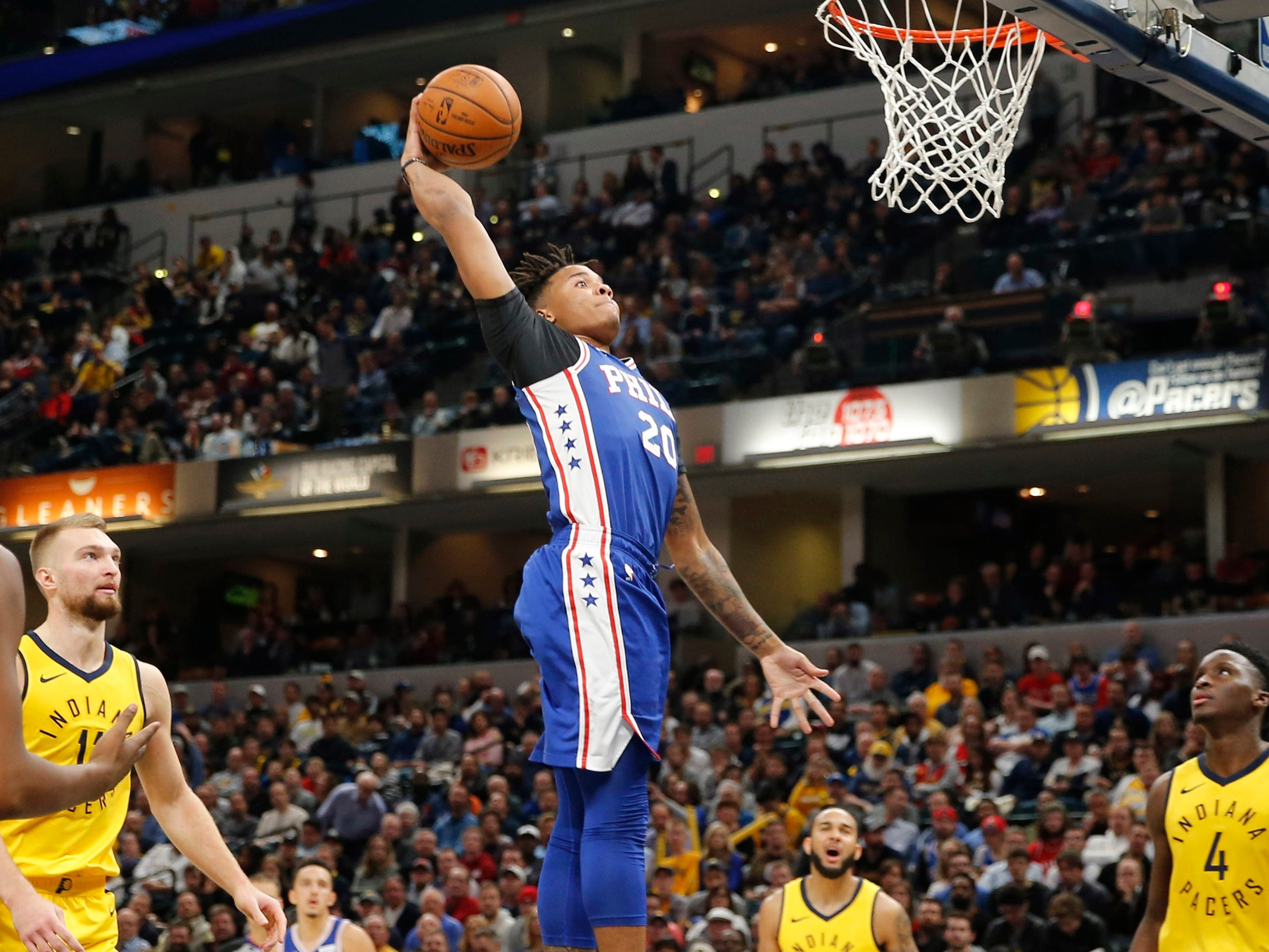 Nov. 7: 76ers guard Markelle Fultz rises up for a one-handed flush during the second half against the Pacers in Indianapolis.