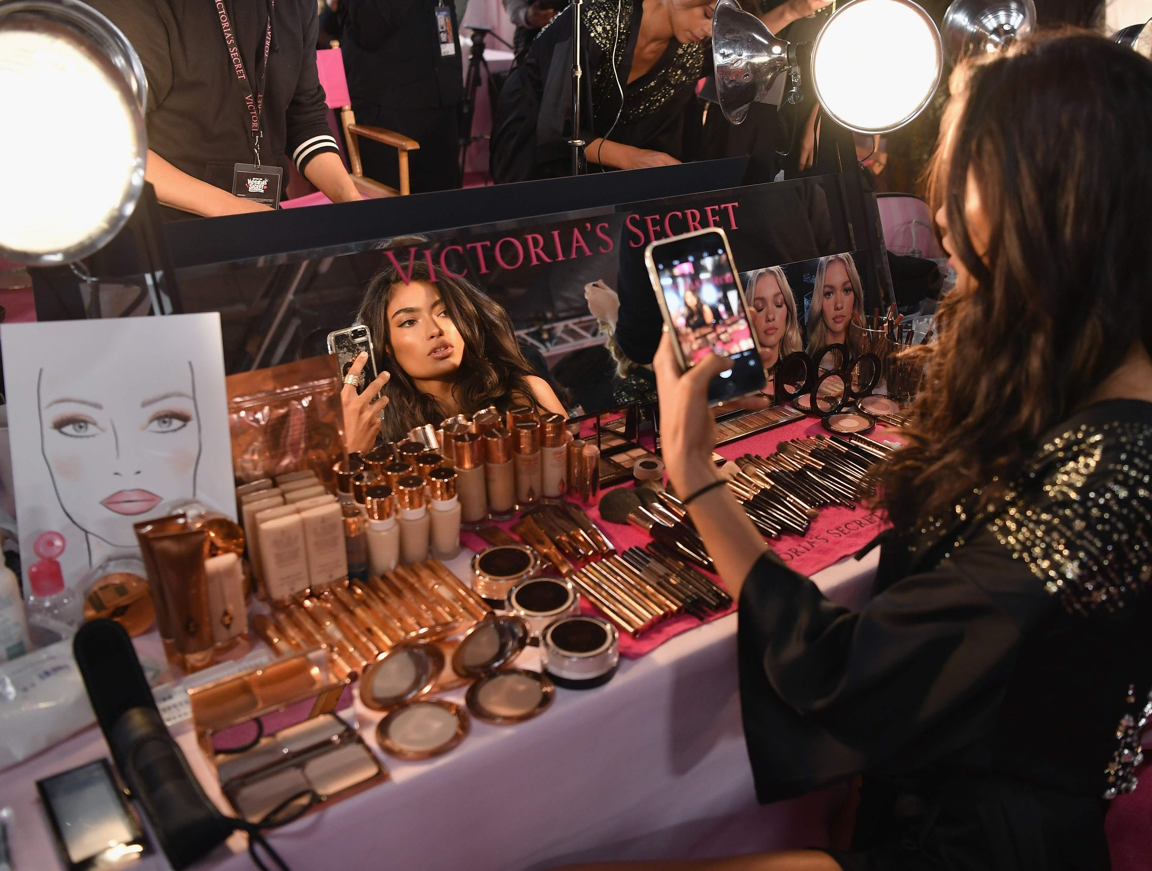 Swedish-Australian model Kelly Gale prepares.