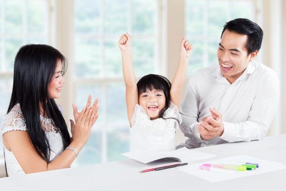 A child is more apt to recreate good behavior after being praised by parents and caregivers, called positive reinforcement.