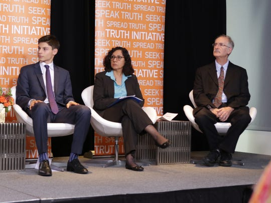"""Former FDA and CDC official David Ashley, a professor at Georgia State University's School of Public Health, right, is shown on a teen vaping panel Nov. 1, 2018, sponsored by the advocacy group Truth Initiative. To his right is Dr. Milagros """"Mila"""" Váscones-Gatski. She is a substance abuse counselor for Arlington Public Schools, and to her right is Cornell University student Jack Waxman, who started a group opposed to vaping at his school."""