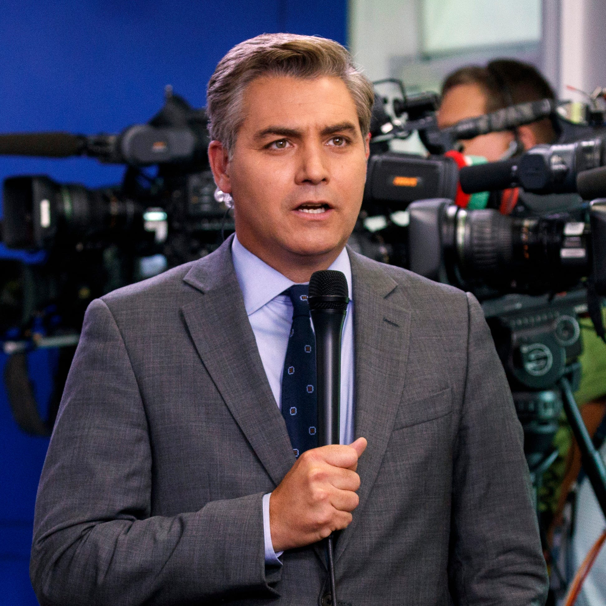 CNN correspondent Jim Acosta is pictured before a daily press briefing at the White House.