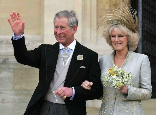 Prince Charles with his new wife Camilla  Duchess of Cornwall on their wedding day at St. George's Chapel at Windsor Castle, April 9, 2005.