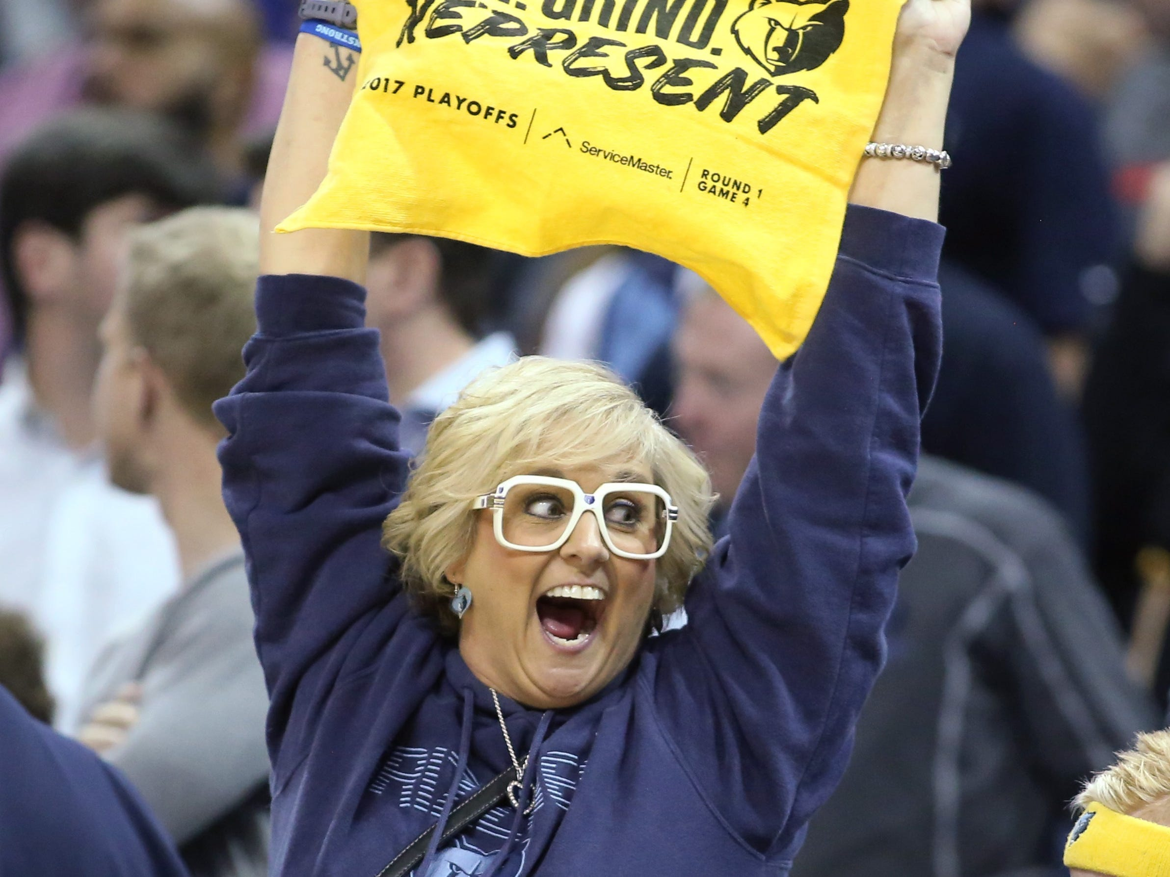 Nov. 7: A Grizzlies fan gets fired up during the second half against eh Nuggets at FedExForum.