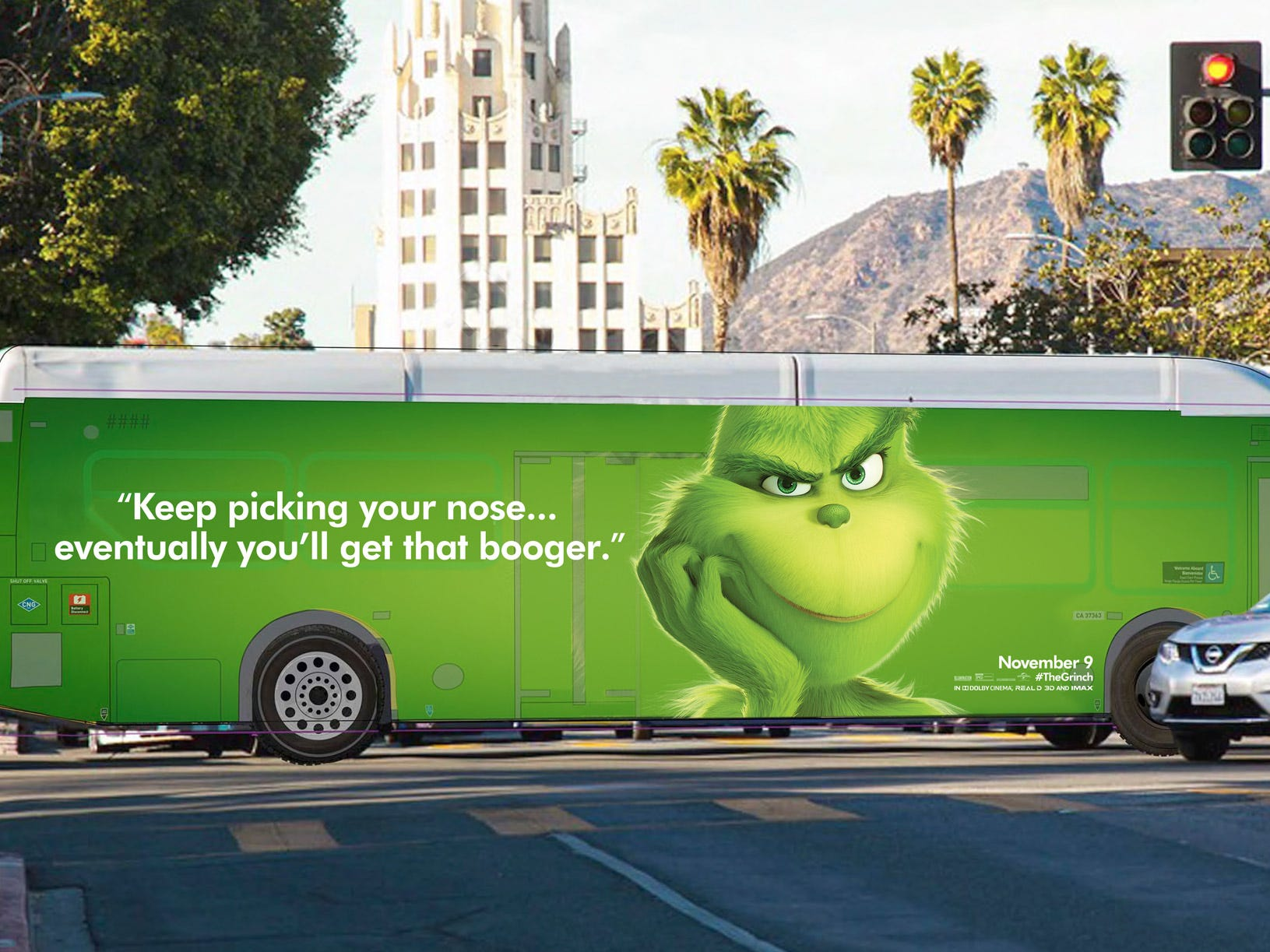 The Grinch has a message for distracted drivers in Los Angeles. Keep your hands on the wheel.