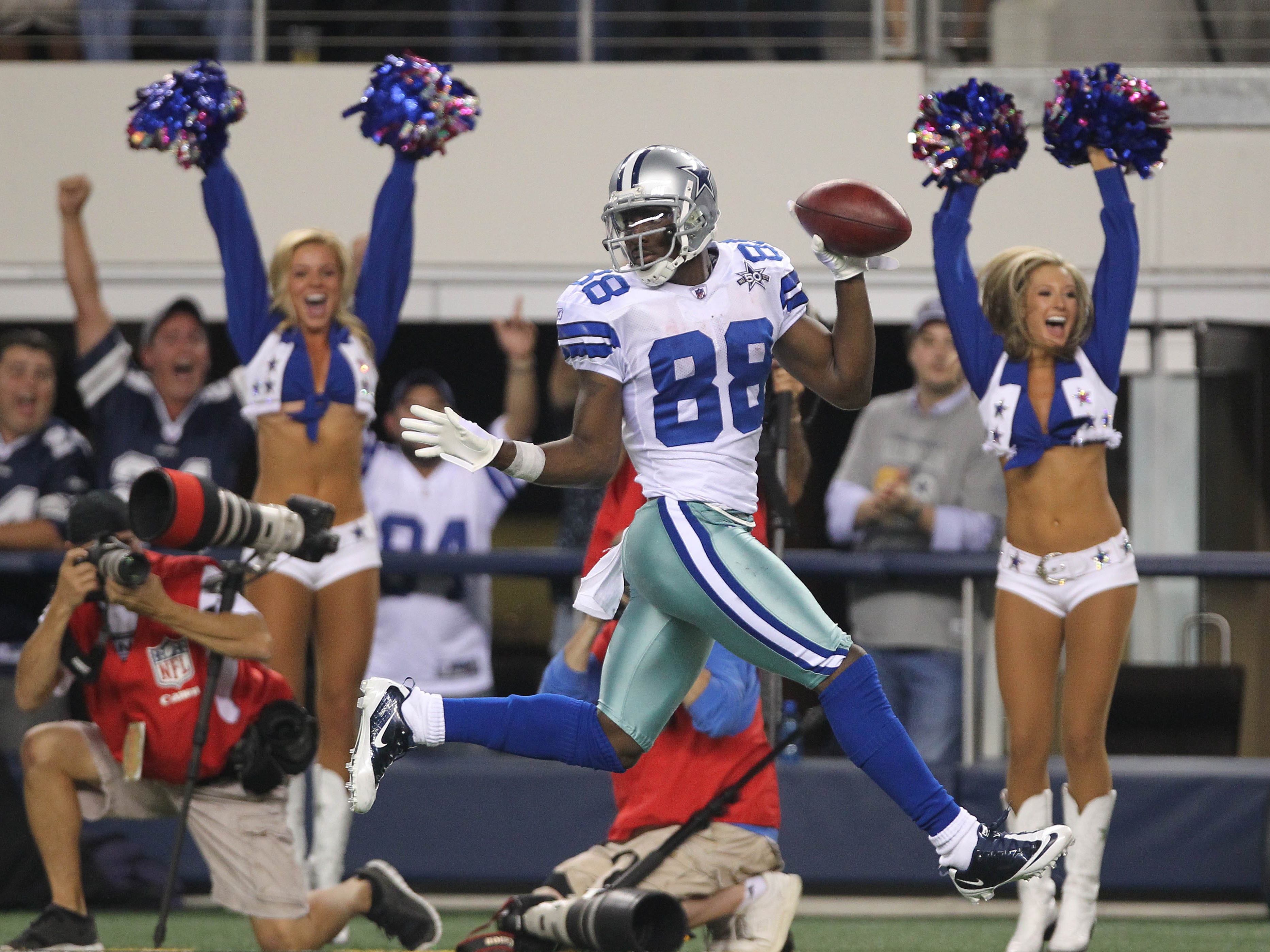Dez Bryant returns a punt for an 88-yard touchdown against the New York Giants at Cowboys Stadium in 2010.