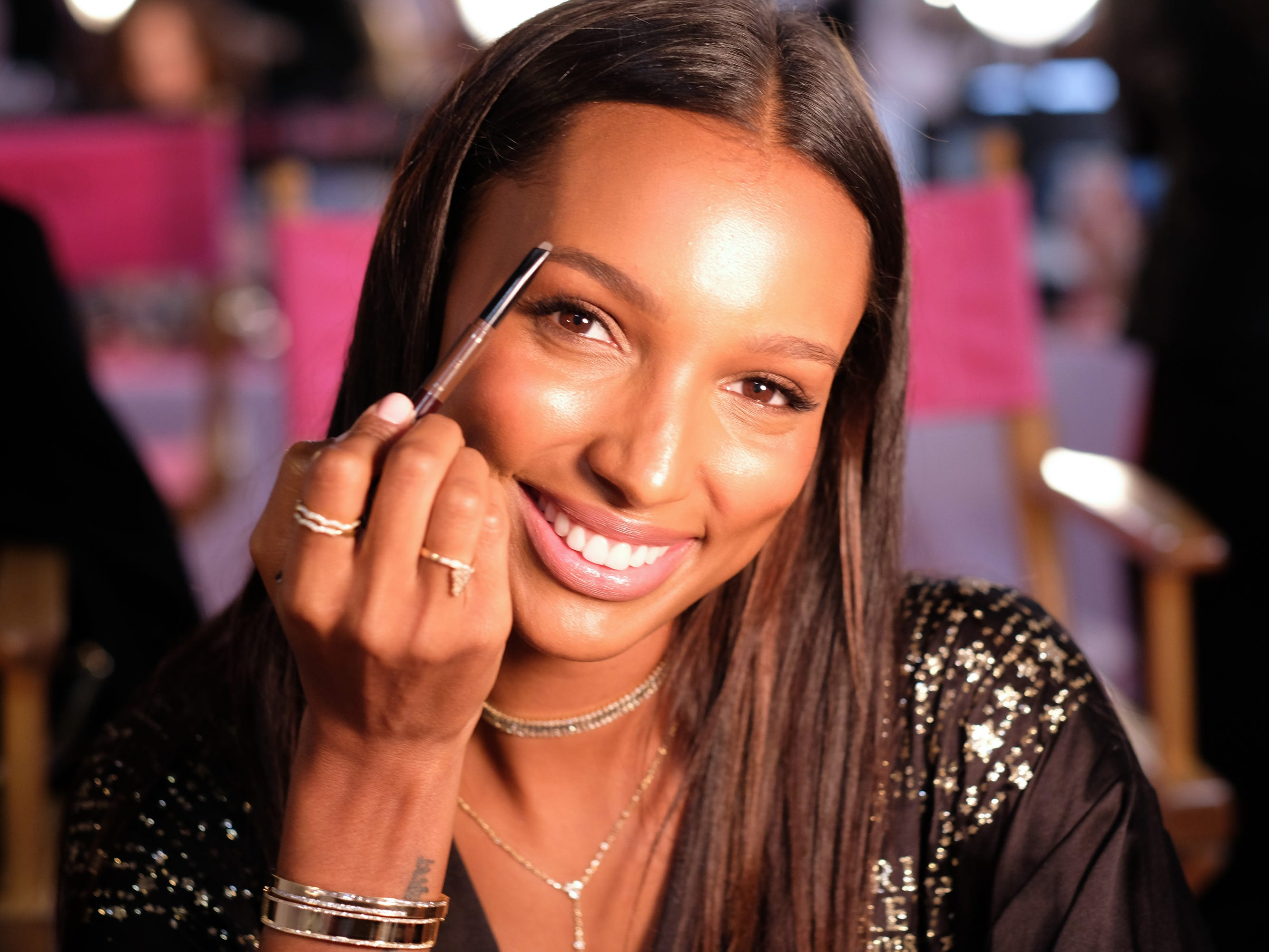 Yep, it's that time of year!  The beginning of the 2018 Victoria's Secret Fashion Show starts backstage with hair and makeup. Veteran Angel Jasmine Tookes prepares backstage  at Pier 94 on Nov. 8, 2018 in New York.
