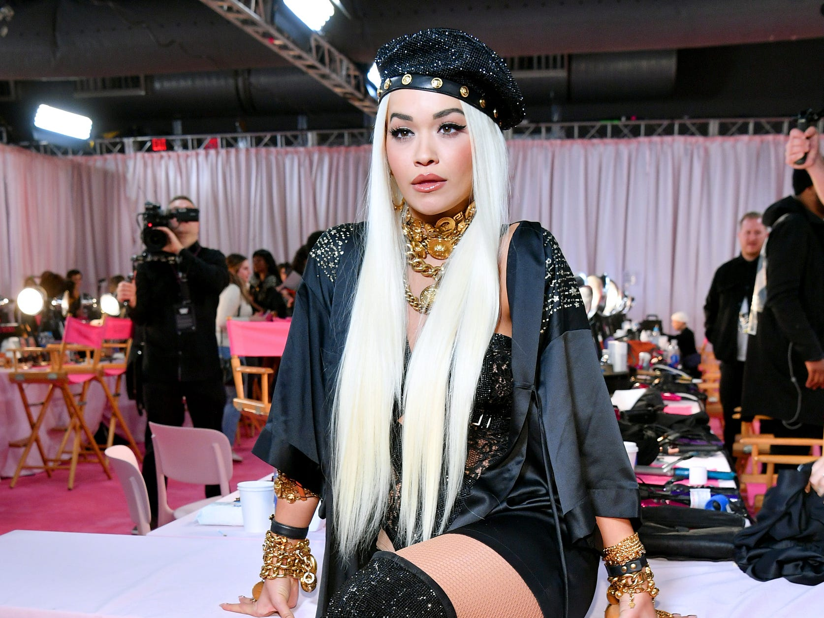 Rita Ora strikes a pose backstage during  Victoria's Secret Fashion Show.