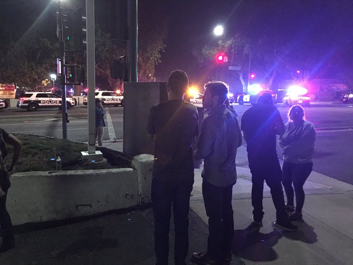 People gather near the scene of a mass shooting at the Borderline Bar & Grill in Thousand Oaks, Calif., Nov. 8, 2018.
