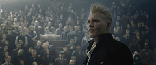 "Dark wizard Gellert Grindelwald (Johnny Depp) addresses his fellow magical types in ""Fantastic Beasts: The Crimes of Grindelwald."""