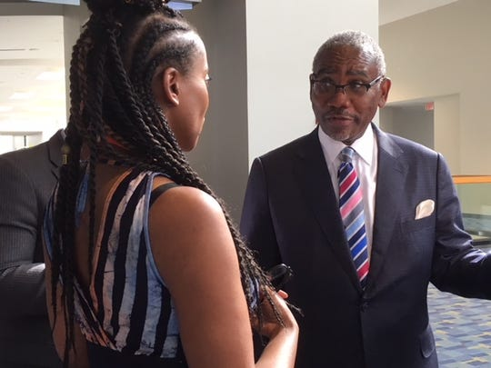 Rep. Gregory Meeks, D-New York, talked to conferees at the Congressional Black Foundation's annual legislative conference Sept. 14, 2018.