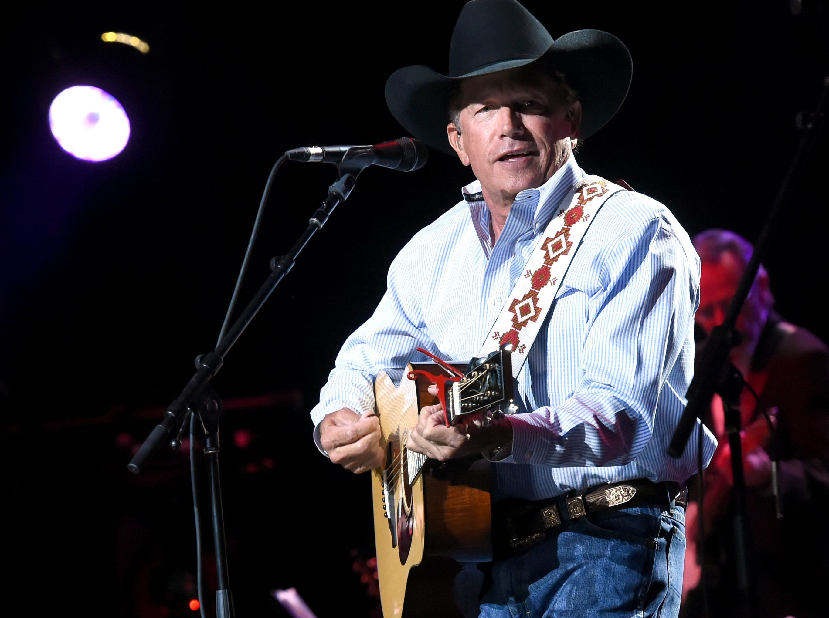 SAN ANTONIO, TX - SEPTEMBER 12:  In this handout photo provided by Hand in Hand, George Strait performs onstage during George Strait's Hand in Hand Texas benefit concert; Strait and special guests Miranda Lambert, Chris Stapleton, Lyle Lovett and Robert Early Keen perform in concert at the Majestic Theatre on September 12, 2017 in San Antonio, Texas.  (Photo by Rick Diamond/Hand in Hand/Getty Images) ORG XMIT: 775042785 ORIG FILE ID: 846230760